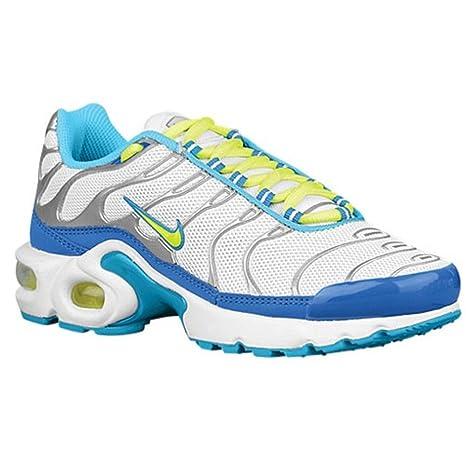 new product 24f01 1d6fa Nike Air Max Plus (Girls Grade School) (5, White/Volt ...