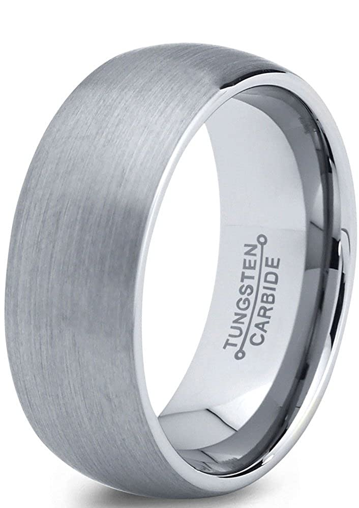 Tungsten Wedding Band Ring 7mm for Men Women Comfort Fit Domed Round Brushed Charming Jewelers CJCDN-175-B