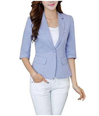 the best attitude 5b251 8af68 Tootless-Women Solid Notch Collar Blazer Cotton Linen Blend Suit Coat at  Amazon Women s Clothing store