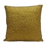 Yuga Metallic Gold Sequin Throw Cushion Cover Sparkle Pillow Wedding Decor Lounge 24 X 24 Inches
