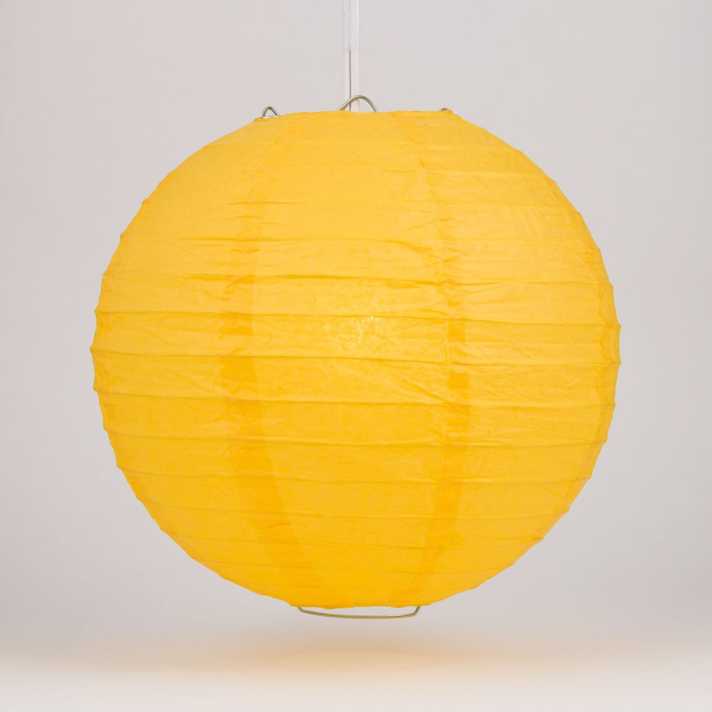 Quasimoon PaperLanternStore.com 42'' Yellow Round Paper Lantern, Even Ribbing, Hanging (6 Pack)