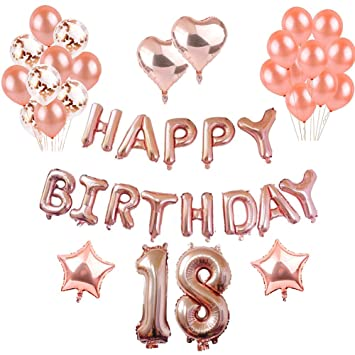 Toupons 18th Birthday Decorations Rose Gold Balloons Party Set Happy