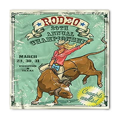 Retro Bandana by Lunarable, Rodeo Cowgirl on the Bull Annual Championship Vintage Poster Pattern Grunge Design, Printed Unisex Bandana Head and Neck Tie Scarf Headband, 22 X 22 Inches, Multicolor