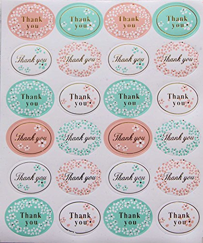 (Floral Thank You Stickers - 288 Pack Glitter Self Adhesive Label 1.2 inch Small Oval Shape Personalized Handmade Gift Seal Cards for Wedding Birthday Celebrating Party Favors (12 Sheets, Gold))