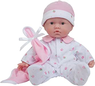 La Baby Boutique 11 inch Small Soft Body Baby Doll dressed in Pink for Children 12 Months and older