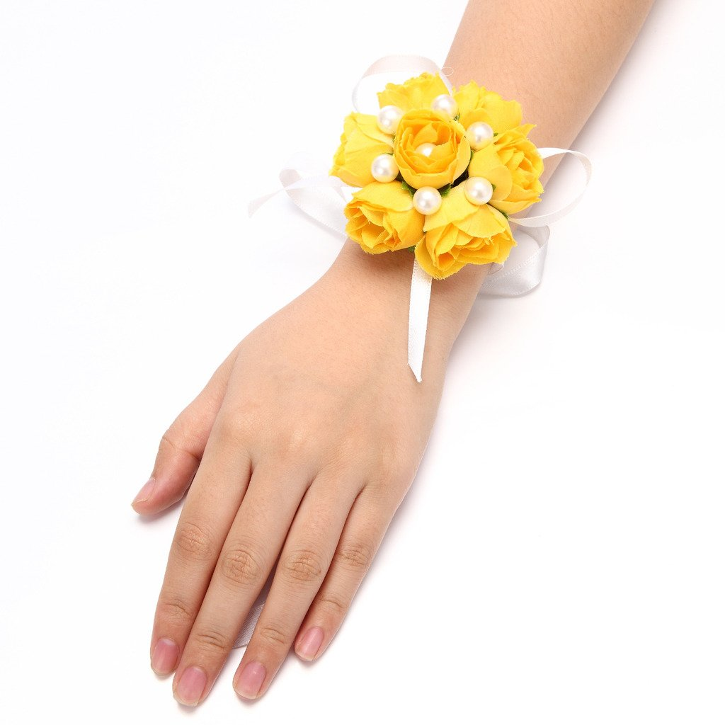 FAYBOX Girl Bridesmaid Wedding Wrist Corsage Party Prom Hand Flower Decor Pack of Yellow