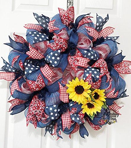 FESTIVE Fall ~ Autumn ~ Harvest Sunflower Denim Paisley Bandana Deco Mesh Wreath #105 (Bandana Wreath)