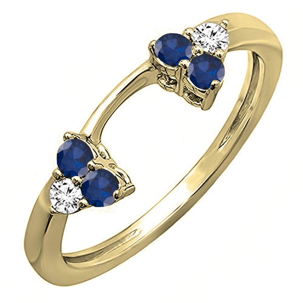 Dazzlingrock Collection 14K Round Blue Sapphire & White Diamond Ladies Wedding Ring Matching Guard Band, Yellow Gold, Size 7