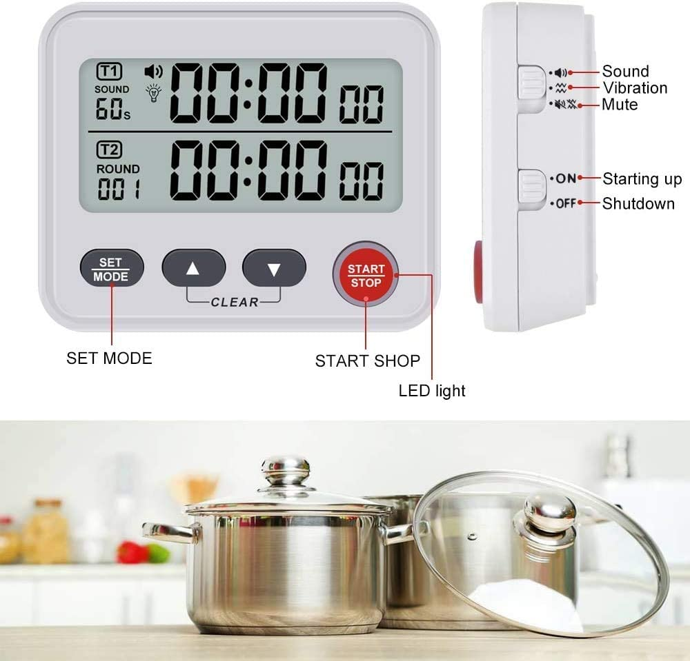 Samshow Study Digital Countdown Timer Meeting Gym Studying Time Count Up Down Kitchen Timers Clock with Alarm 2 Groups Commercial Timer