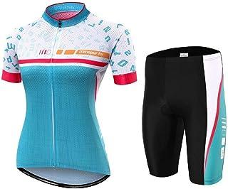Lilongjiao Damen Radtrikot & Shorts Set 3D Gepolsterte Kurze Hosen Kurzarm Atmungsaktives Fahrradhemd Fahrradbekleidung