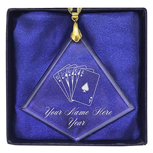 (LaserGram Christmas Ornament, Royal Flush Poker Cards, Personalized Engraving Included (Diamond Shape) )