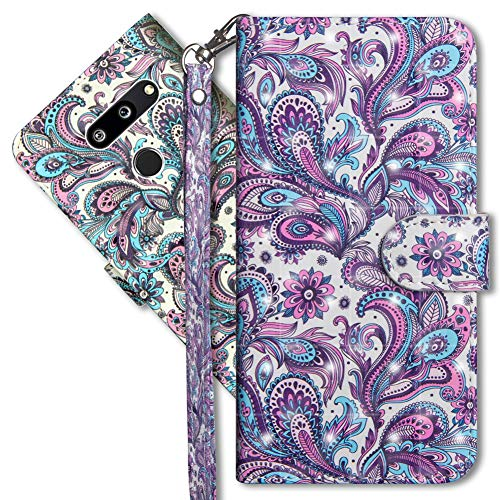 LG G8 ThinQ Wallet Case, LG G8S ThinQ Premium PU Leather Case, COTDINFORCA 3D Creative Painted Effect Design Full-Body Protective Cover for LG G8 / LG G8S ThinQ (2019). PU- Peacock Flower