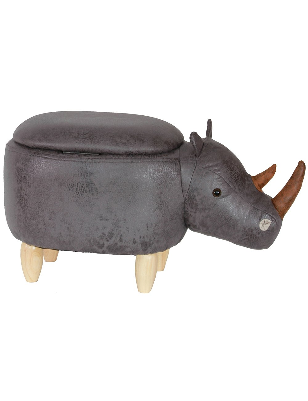 HAOSOON Animal ottoman Series Storage Ottoman Footrest Stool with Vivid Adorable Animal-Like Features(Rhinoceros) (grey) by HAOSOON (Image #3)