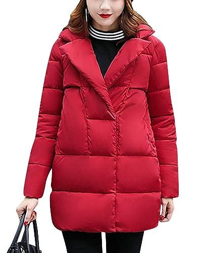 Mujer De Manga Larga Abrigo Acolchado Chaqueta Larga Abrigo de Cálido Delgado de Parka