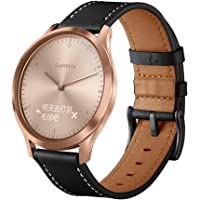 Genuine Leather Watchband Replacement for Garmin Vivomove HR, Garmin Bands, Soft, Durable, for Adult Unisex