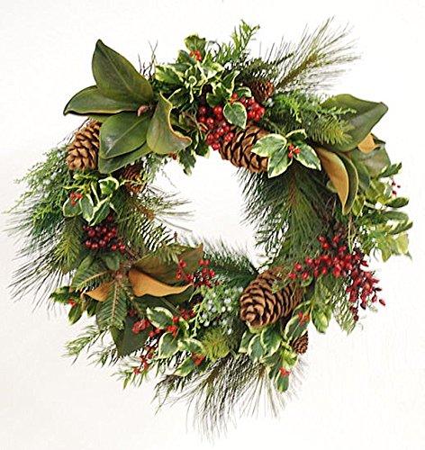 Winward Designs Holly Pine Magnolia Wreath, 24-Inch Dia, Red/Green