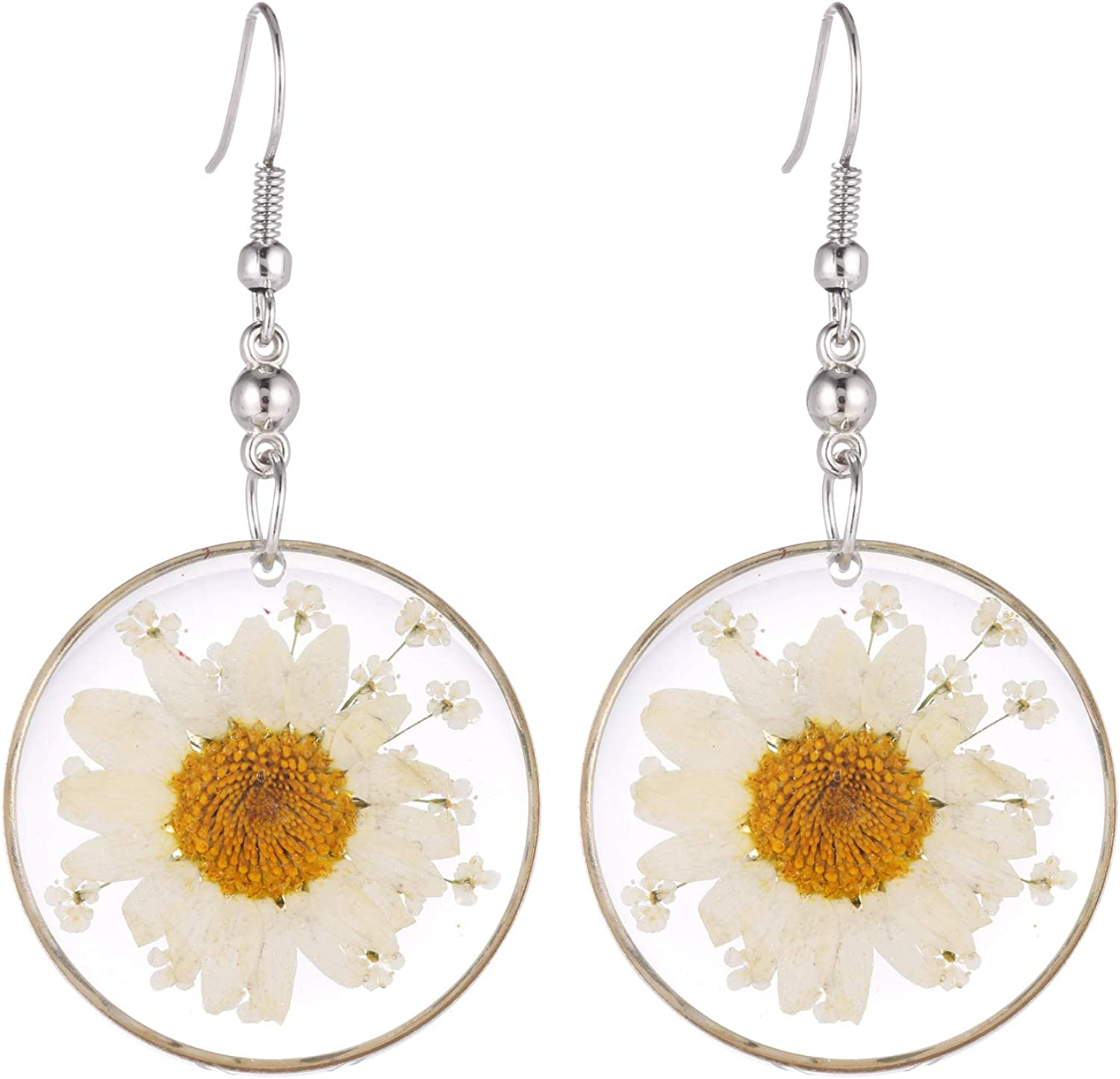 """FM FM42 Multi-Colored Pressed Daisy & Queen Anne's Lace Flowers 1.14"""" Round Circle Drop Dangle Hook Earrings, 7 Colors"""