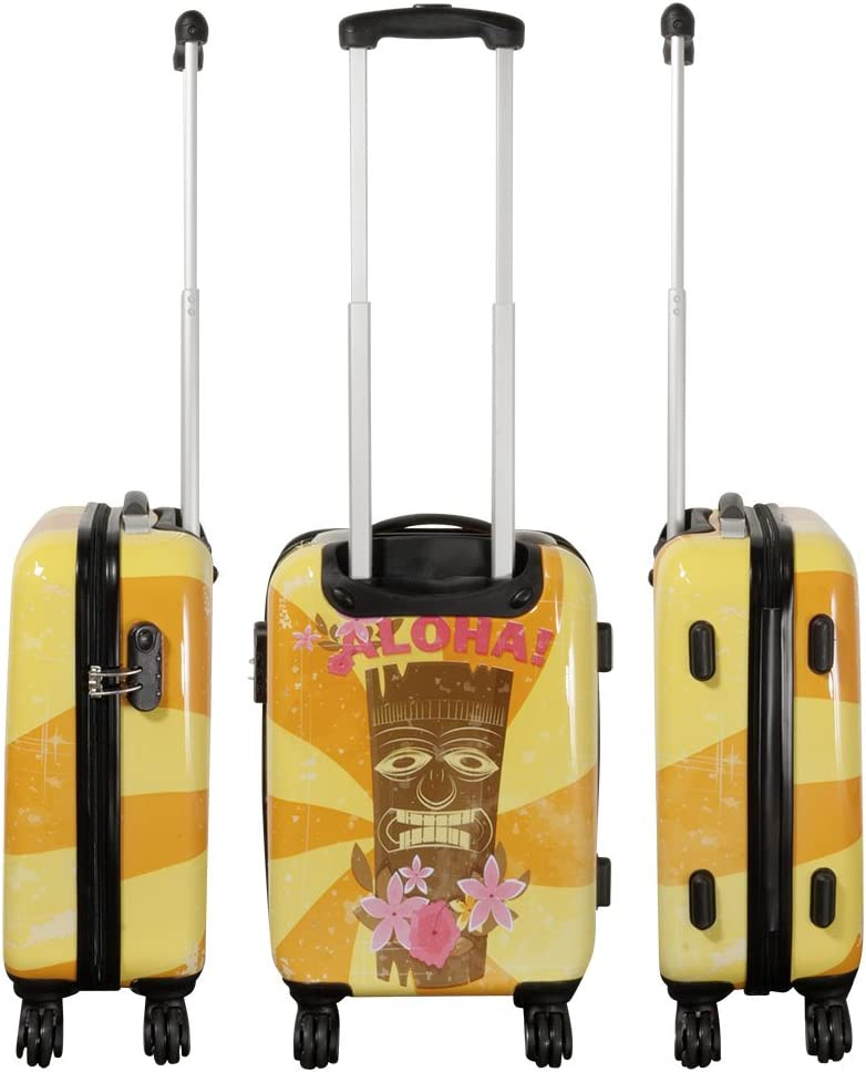 Set de 3 Betz Valise /à Fermeture TSA Trolley Bagage /à Cabine poign/ée t/élescopique et roulettes pivotantes /à 360/° Motif Hawaii 1