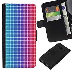 - PATTERN BLUE DISCO RED FABRIC ILLUSION DOTS - - Prima caja de la PU billetera de cuero con ranuras para tarjetas, efectivo desmontable correa para l Funny House FOR Samsung Galaxy A3