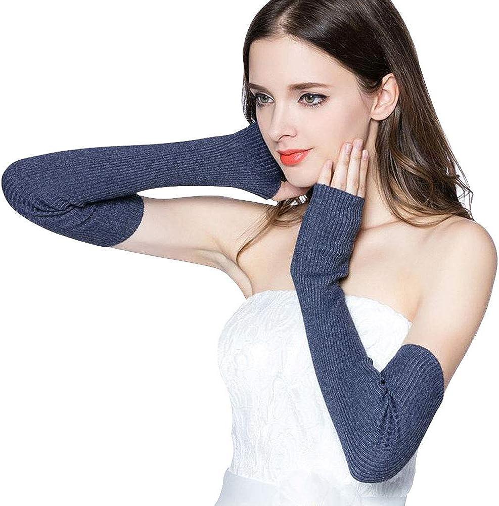 LerBen Womens Cashmere Warm Fingerless Gloves Winter Long Arm Warmer