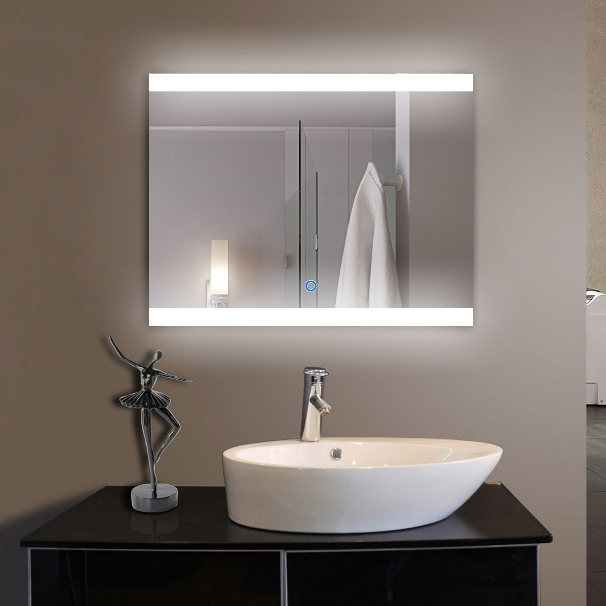 36 x 28 in Horizontal LED Bathroom Silvered Mirror with Touch Button (D-CL056)