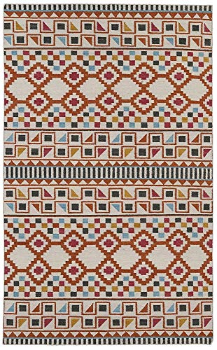 - Kaleen Rugs Nomad Collection NOM08-53 Paprika Flat-Weave 5' x 8' Rug