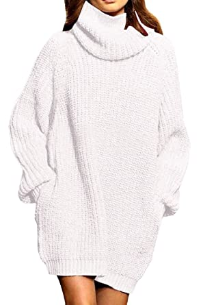 1bbc17377a2 Viottis Women s Baggy Oversize Turtleneck Pullover Knit Sweater Dress Beige  S