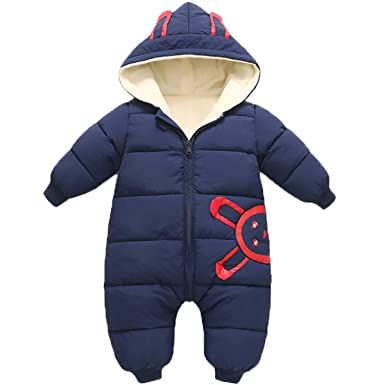4ad7d790b Amazon.com  JELEUON Baby Girls Boys One Piece Winter Hooded Ladybug ...