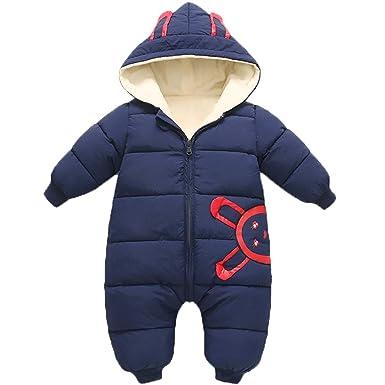 5af6cd1700e1 Amazon.com  JELEUON Baby Girls Boys One Piece Winter Hooded Ladybug ...
