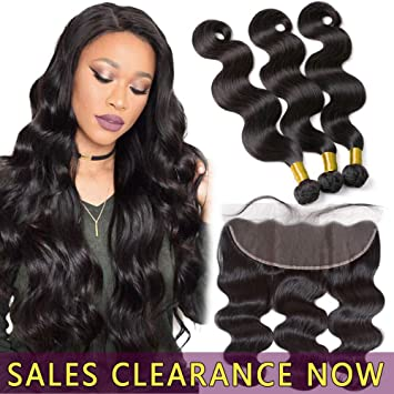 Malaysian Body Wave 3 Bundles With Frontal Human Hair Weave 13x4 Pre Plucked Lace Frontal Closure With Bundles Non Remy Long Performance Life 3/4 Bundles With Closure