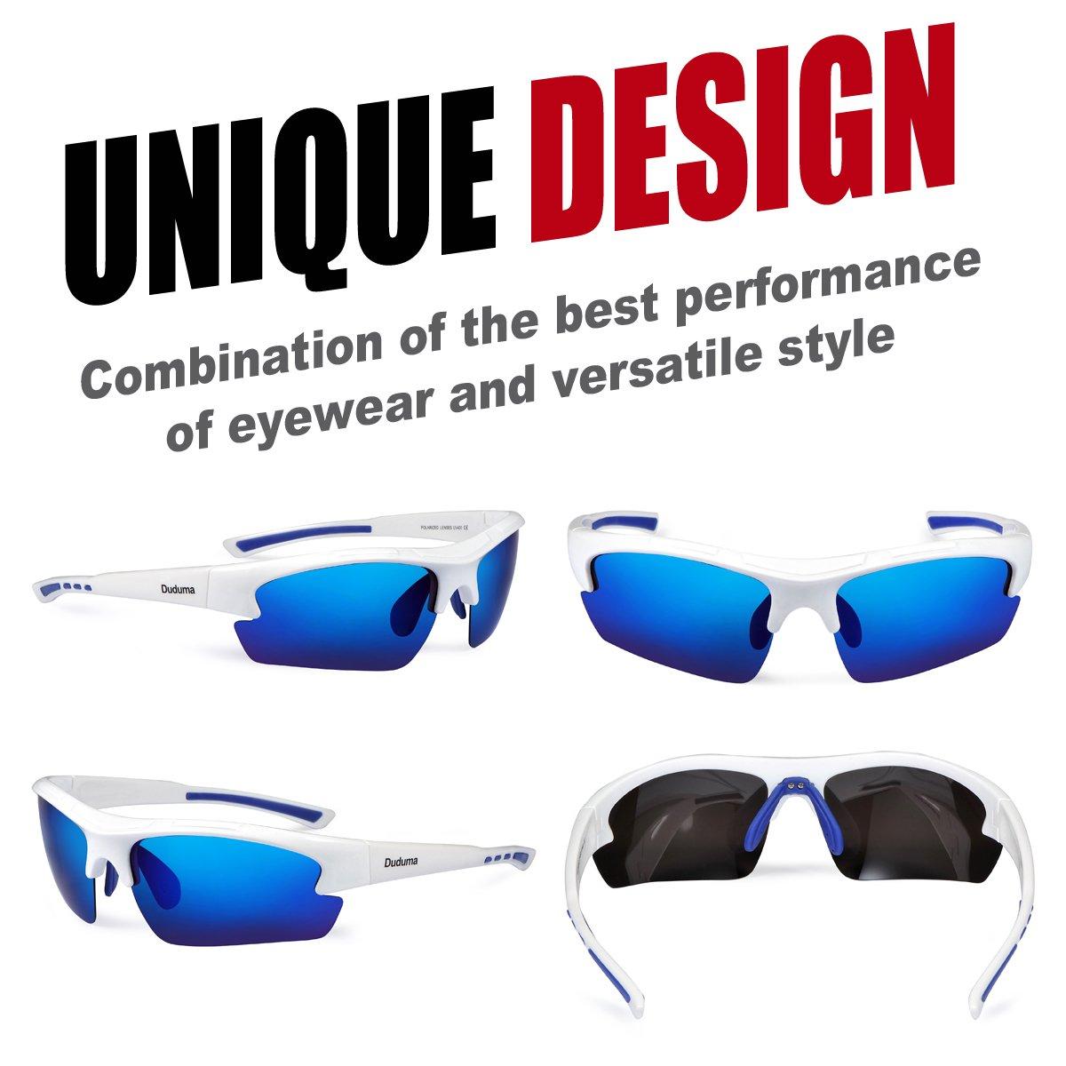 da585bef8e8 Amazon.com  Duduma Polarized Designer Fashion Sports Sunglasses for Baseball  Cycling Fishing Golf Tr62 Superlight Frame (White Blue)  Sports   Outdoors