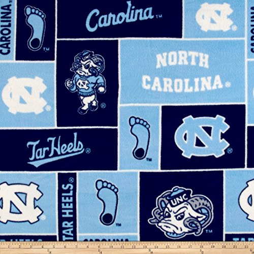 Sykel Enterprises Collegiate Fleece University of North Carolina Blue Fabric by The Yard