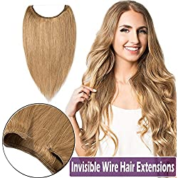 """100% Hidden Wire Human Hair Extensions Remy 16""""-22"""" Straight Invisible Secret Wire Fish Line Hairpieces No Clips No Glue for Women Beauty 18"""" 65g #27 Dark Blonde"""