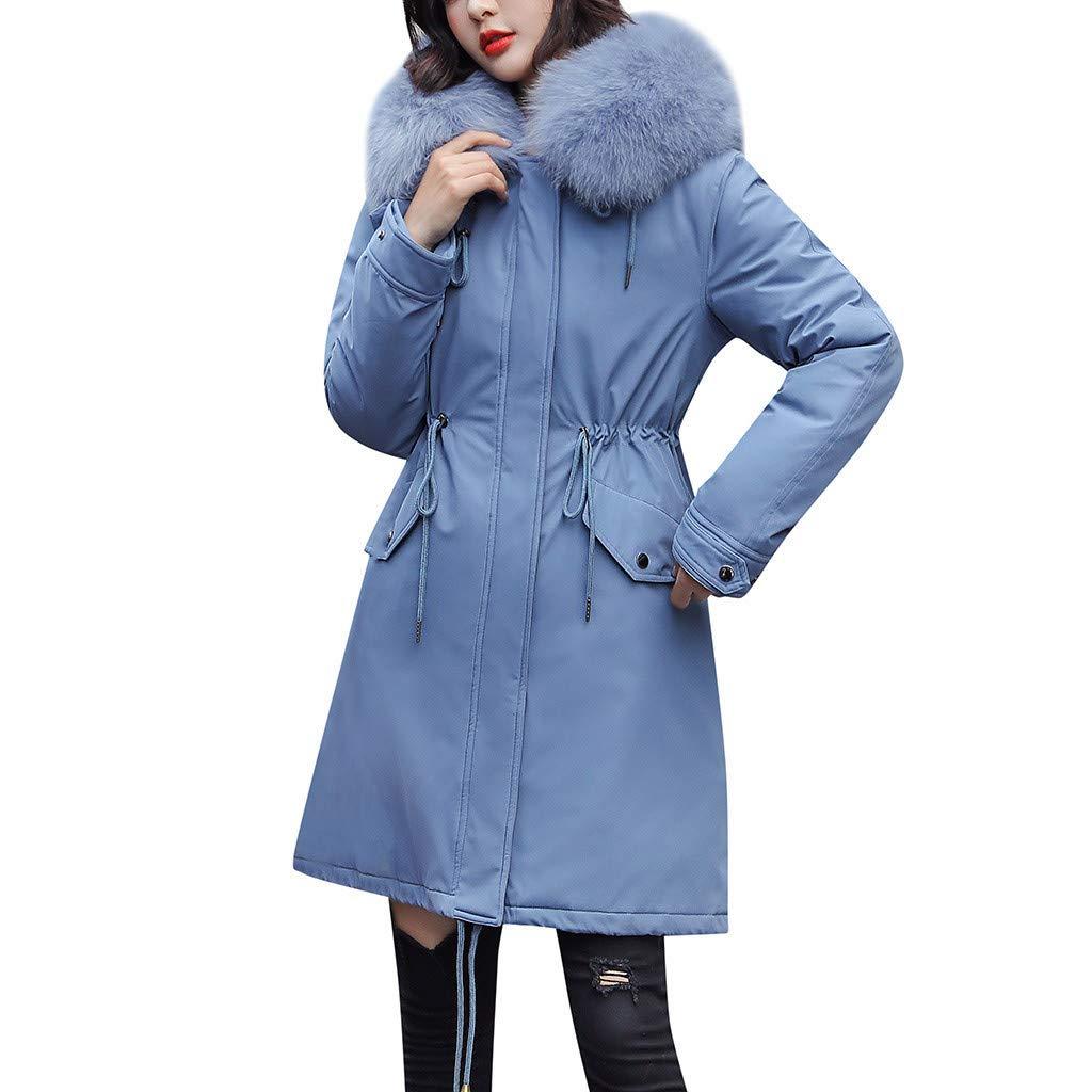 Ultramall Womens Hooded Long Coats Winter Warm Thick Outerwear Coat Slim Cotton-Padded Jacket Thicken Puffer Outwear by Ultramall