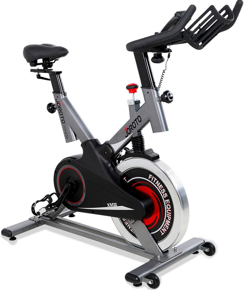 JOROTO Indoor Cycling Bike with Magnetic Resistance and Belt Drive 300 lb Weight Capacity Exercise Bikes Stationary for Home Gym Cycle Workout Model XM30