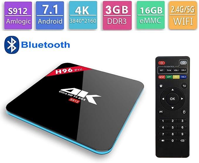 GALEI Andriod 7.1 TV Box, Bluetooth Set Top Box HD 3GB RAM + 16GB ROM WiFi 2.4G / 5.0G, Smart 4K Media Player con Control Remoto: Amazon.es: Hogar