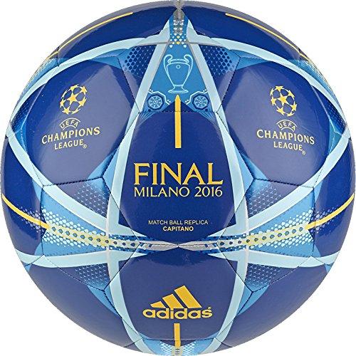 adidas Performance Champions League Finale Milano Capitano Soccer Ball, EQT Blue/Shock Blue/Solar Gold, Size 5