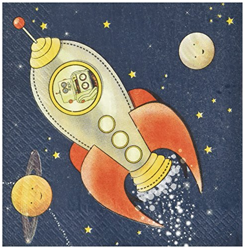 (Ginger Ray Space Adventure Party Spaceship Paper Kids Napkins, Mixed)