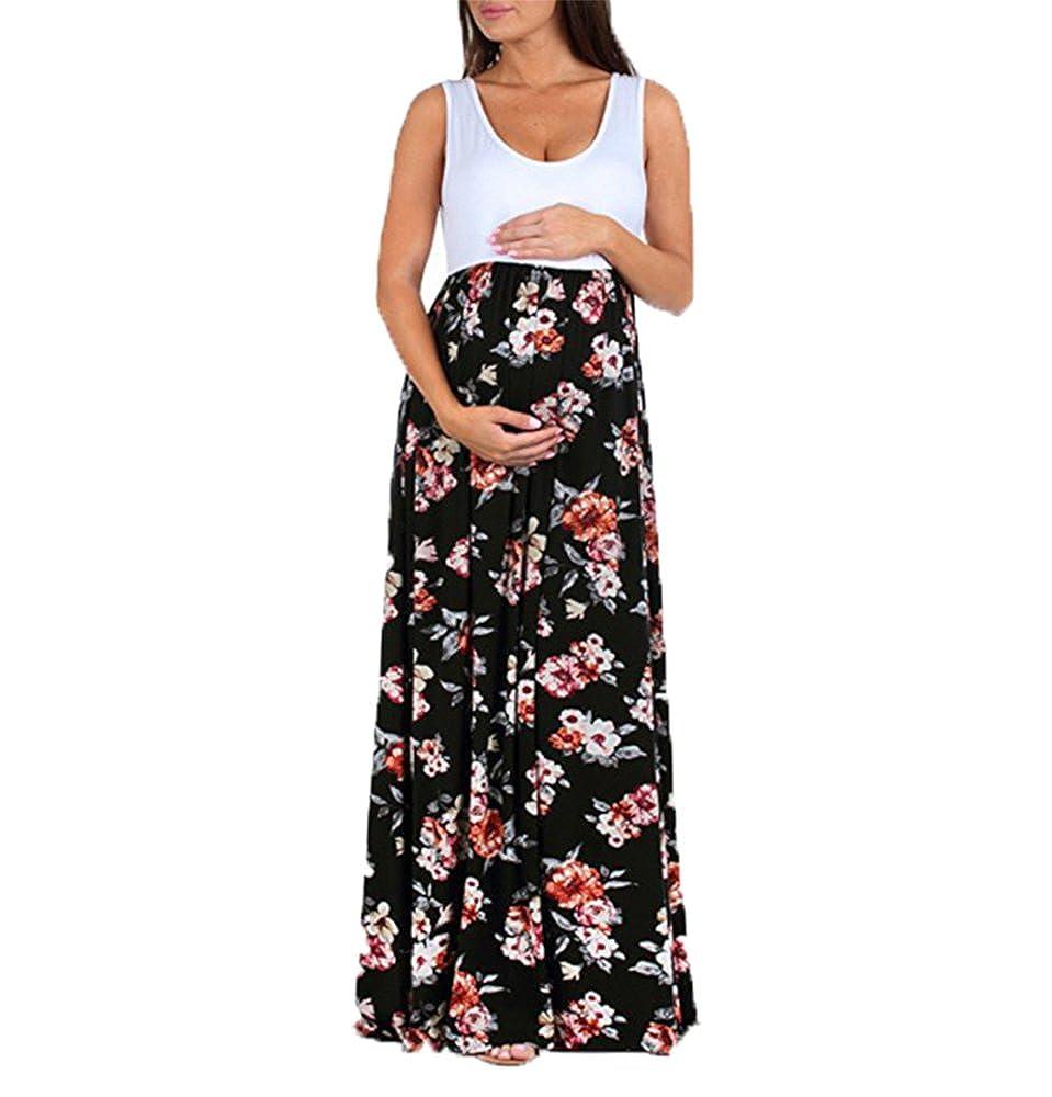 b5d99135b Huateng Vestido de Maternidad de Verano Vestido de Cuello Redondo Sin  Mangas de Color Atractivo