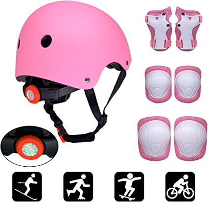 Skateboard Roller Lixada Kids Full Protection Gear Set 7 in 1 Skateboard Skate Helmet Pad Set with Knee Pads Elbow Pads Wrist Pads for Youth Outdoor Sports BMX Bike