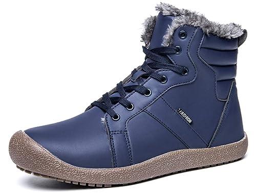 GJRRX Botas de Nieve Hombre Mujer Calientes Botines Zapatos de Invierno Fur Forradas Cortas Planas Tobillo