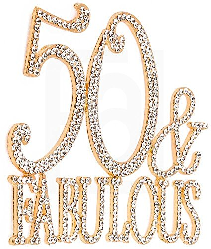 50 & Fabulous, 50th Birthday Cake Topper, Crystal Rhinestones on Gold Metal, Party Decorations, (Gold Carriage Centerpiece)