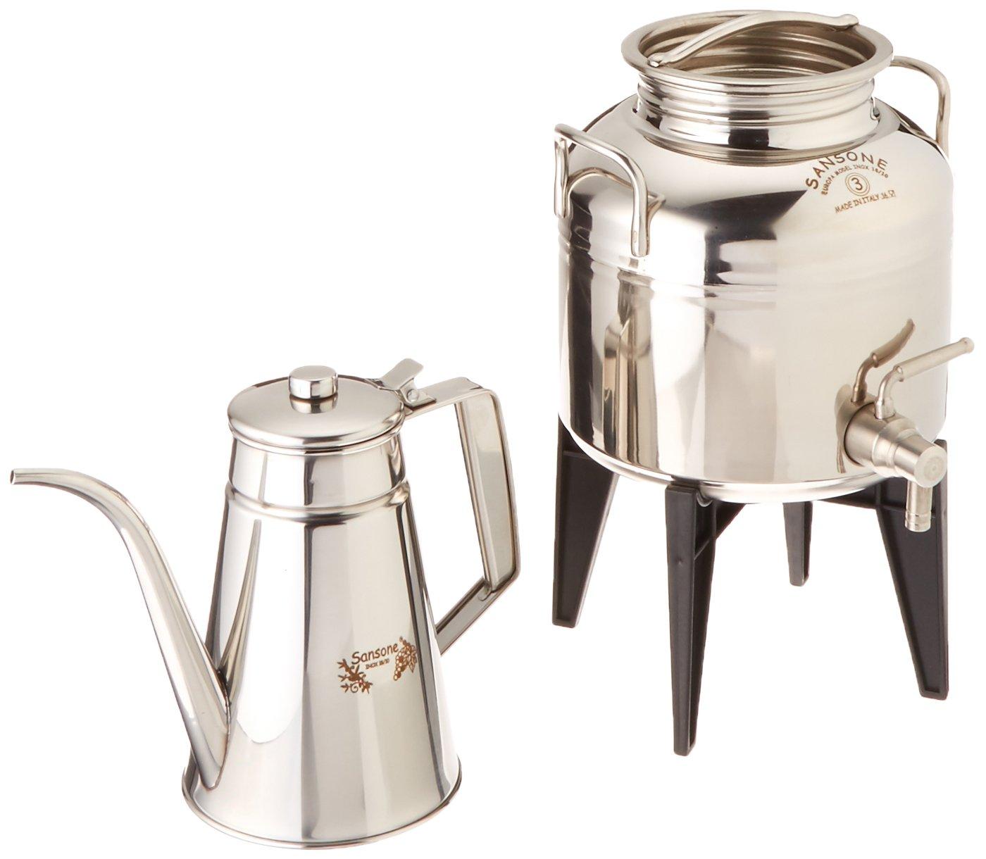 Sansone Italian Fusti & Stainless Steel Oil Cruet Gift Set, 3 L, Silver