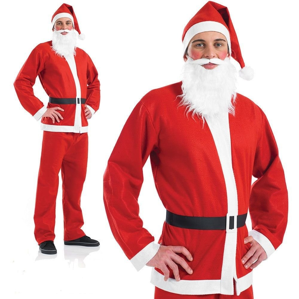 NEW WHITE FATHER CHRISTMAS SANTA BEARD KIDS ADULT FANCY DRESS FIT TO ALL