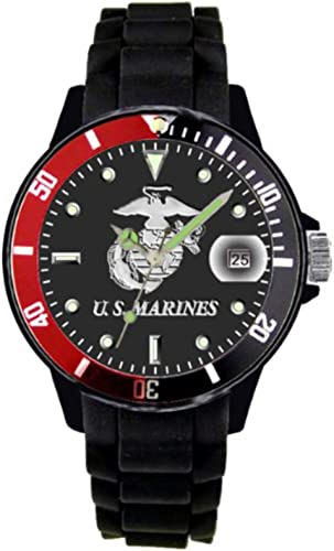 Aqua Force Marines Watch with 42mm Black Face and Red Black Rotating Bezel