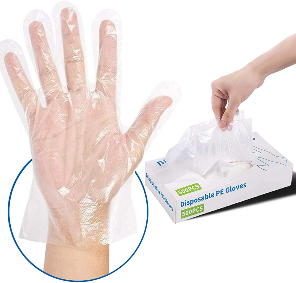 500 Pcs Disposable Plastic Gloves - Latex Free Powder Free Clear Polyethylene Gloves Non-Sterile for Cleaning, Dishwashing, Food Handling, Cooking, Hair Coloring