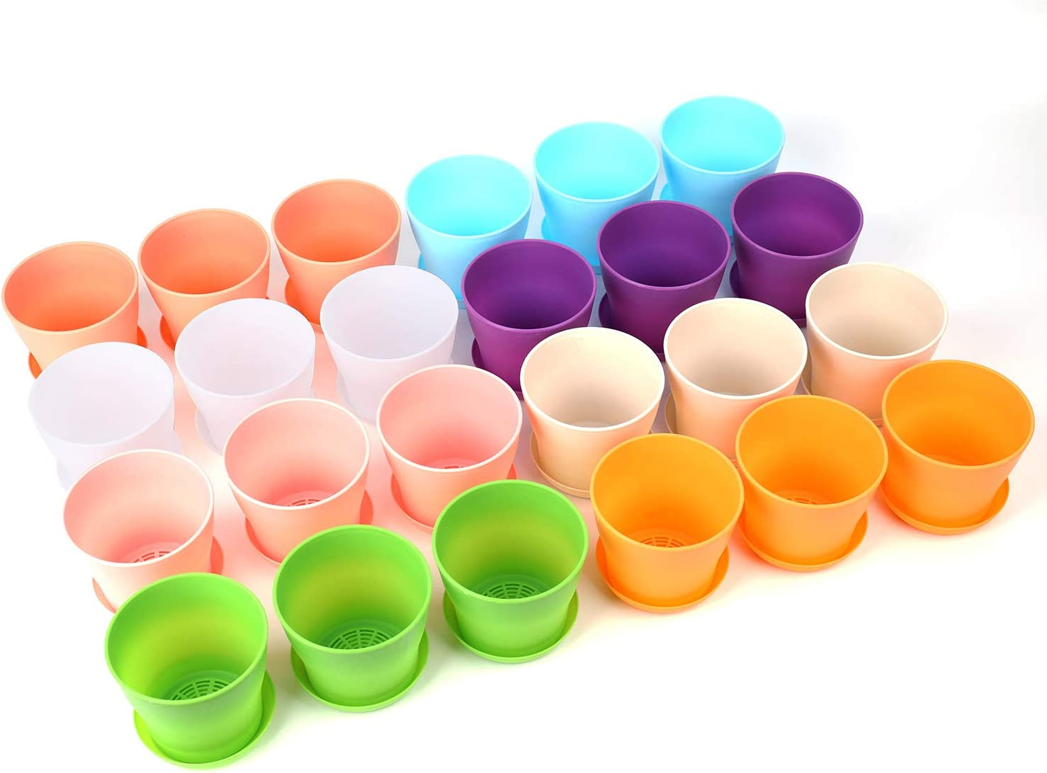 Tosnail 24 Pack Small Plastic Flower Pot Planting Pots for Plants - Assorted 8 Colors