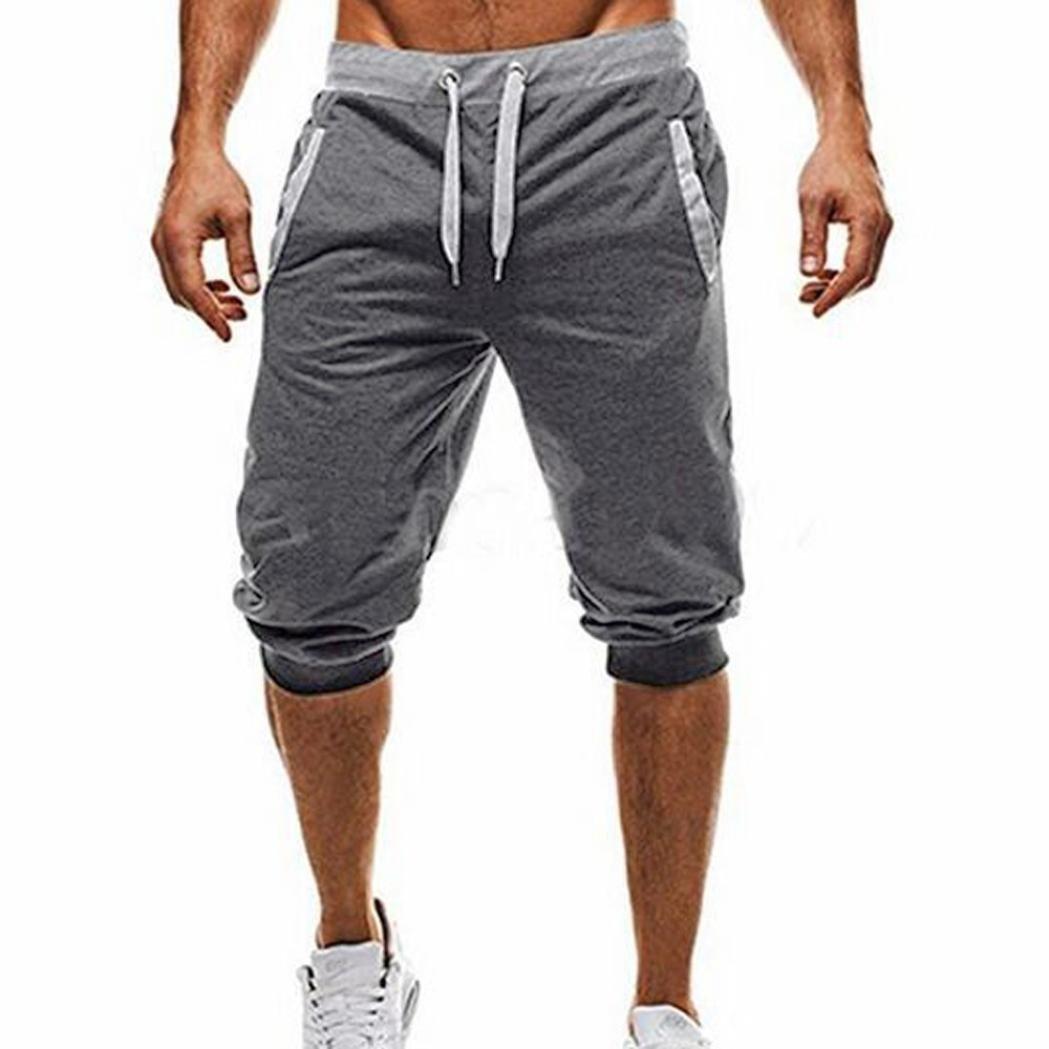 iZHH Men Sport Fitness Jogging Elastic Stretchy Bodybuilding Bermuda Sweatpants