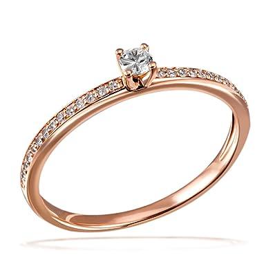 Diamantring verlobung  Goldmaid Damen-Ring Verlobung 585 Diamant (0.18 ct) weiß ...