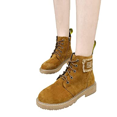 TianWlio Damen Stiefel Stiefeletten Frauen Damen Herbst Winter Freizeit  Retro Peeling Schuhe Flache Schnürung Rutschfeste Kleidung Beständige  Booties  ... b8e760fcef